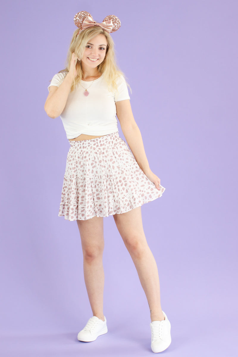 Pongo Printed Dot Ruffle Skirt | CURVE - Madison and Mallory