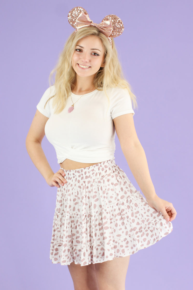 Pongo Printed Dot Ruffle Skirt | CURVE - FINAL SALE - Madison and Mallory