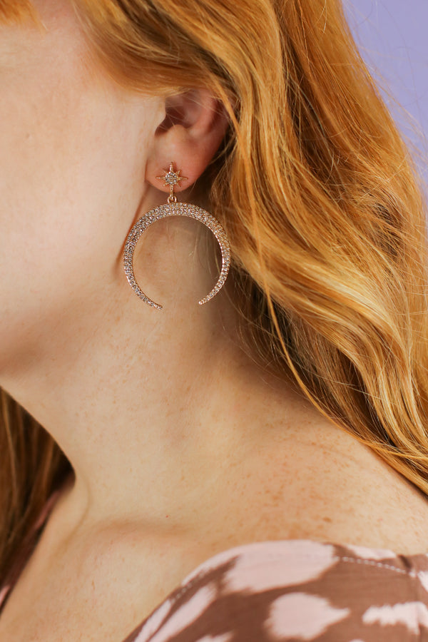 Gold All I Ask Pave Crescent Horn Earrings - Madison and Mallory