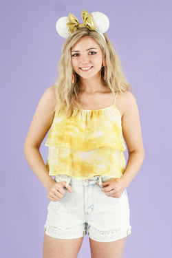 S / Yellow Windsor Tie Dye Flounce Top - FINAL SALE - Madison and Mallory