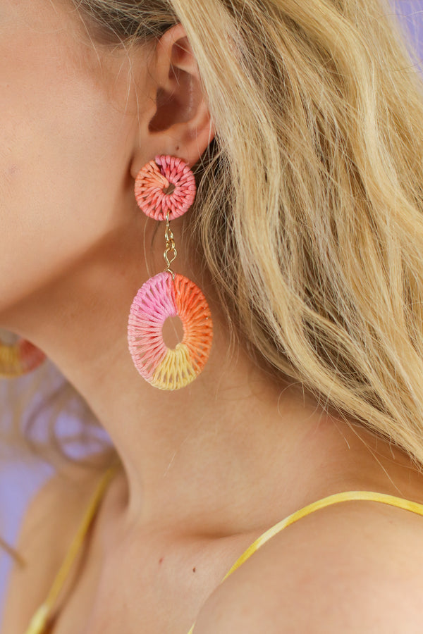 Palma Wrapped Circle Drop Earrings - Madison and Mallory