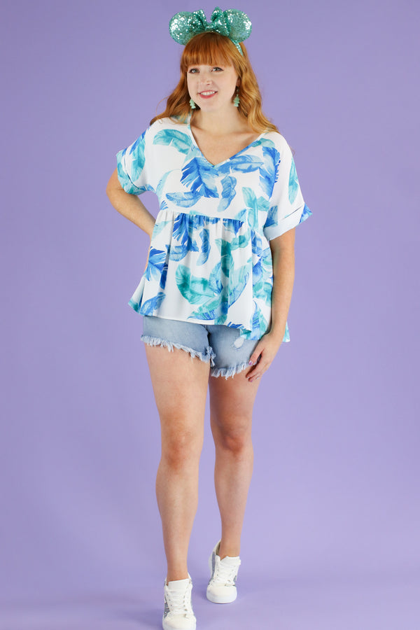 For Shore Tropical Peplum Top | CURVE - FINAL SALE - Madison and Mallory