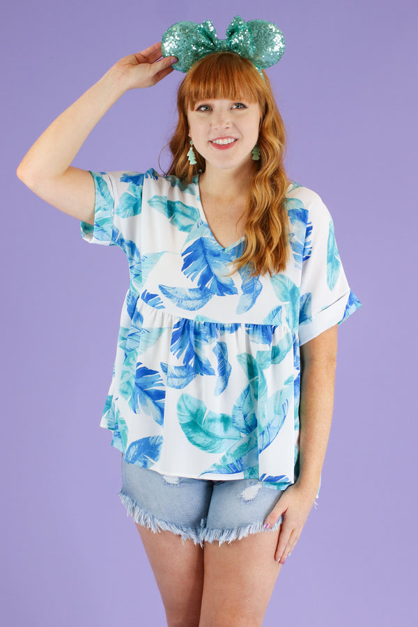 S / Mint For Shore Tropical Peplum Top | CURVE - FINAL SALE - Madison and Mallory