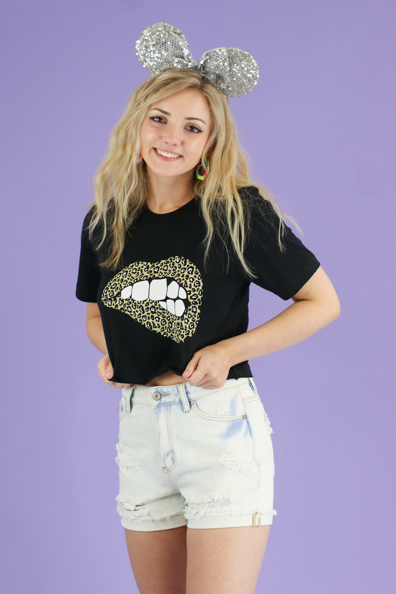 Oh So Wild Animal Print Lips Graphic Top - FINAL SALE - Madison and Mallory