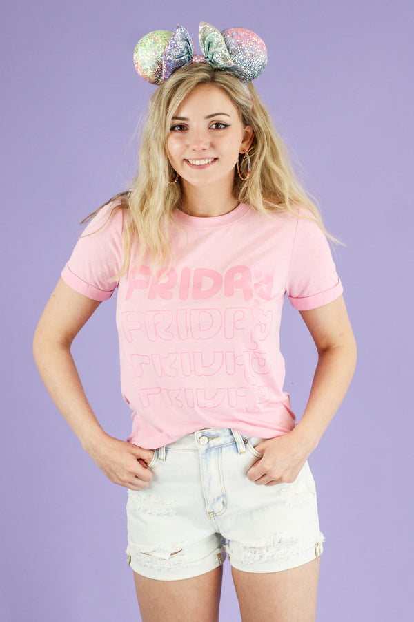S / Pink Friday Graphic Short Sleeve Top - Madison and Mallory