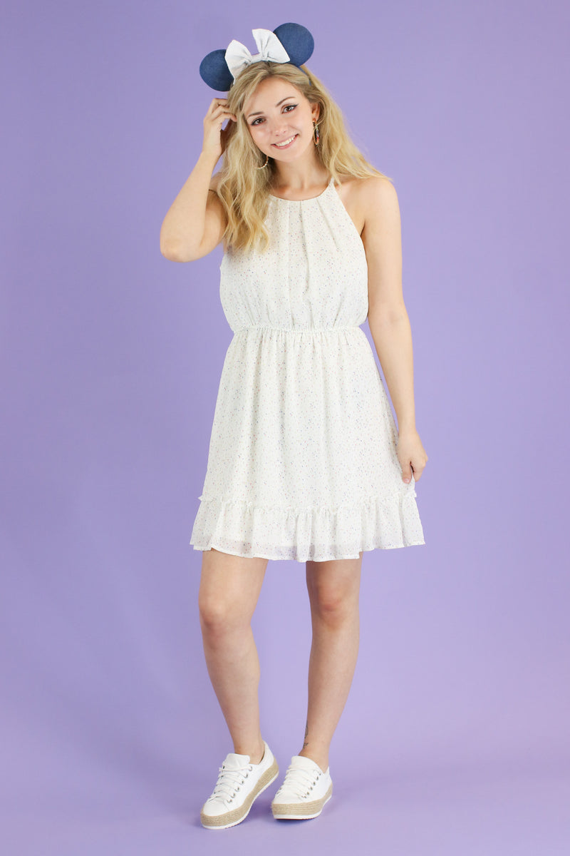 S / Ivory Demure Polka Dot Ruffle Dress - FINAL SALE - Madison and Mallory