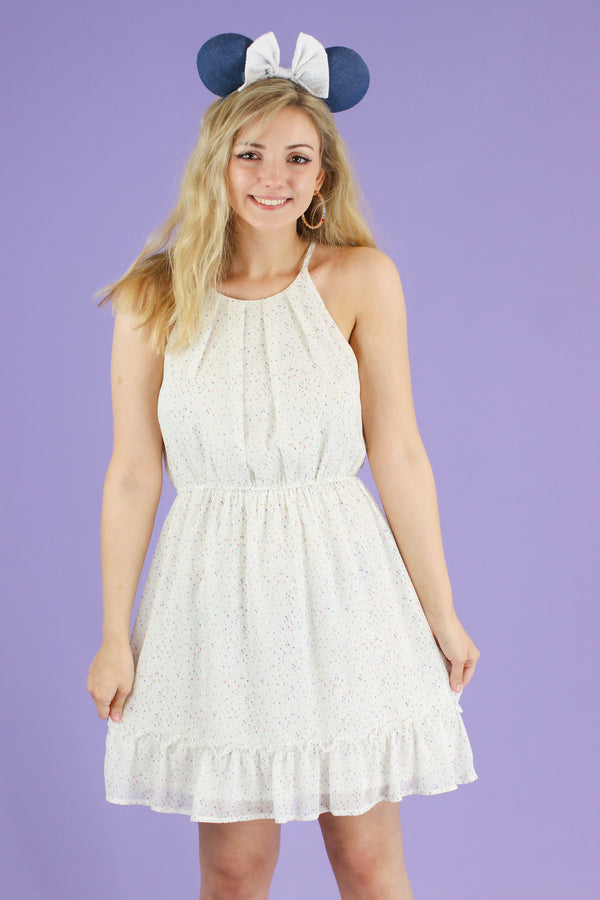 Demure Polka Dot Ruffle Dress - Madison and Mallory
