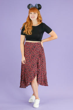 S / Marsala Maven Leopard Wrap Skirt - Madison and Mallory