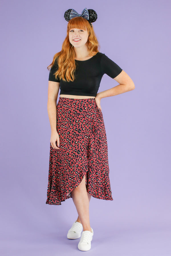 S / Marsala Maven Leopard Wrap Skirt - FINAL SALE - Madison and Mallory