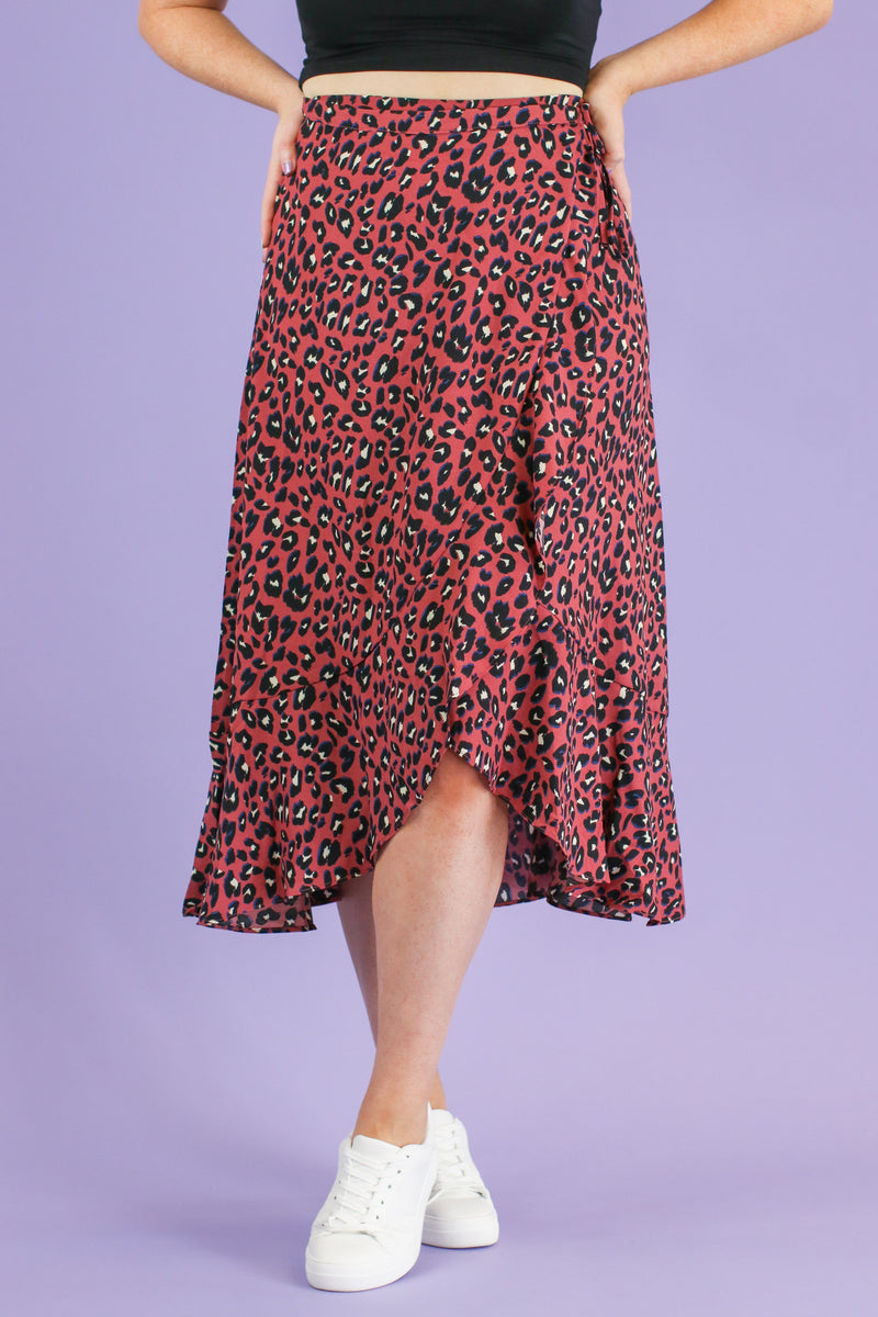 Maven Leopard Wrap Skirt - Madison and Mallory