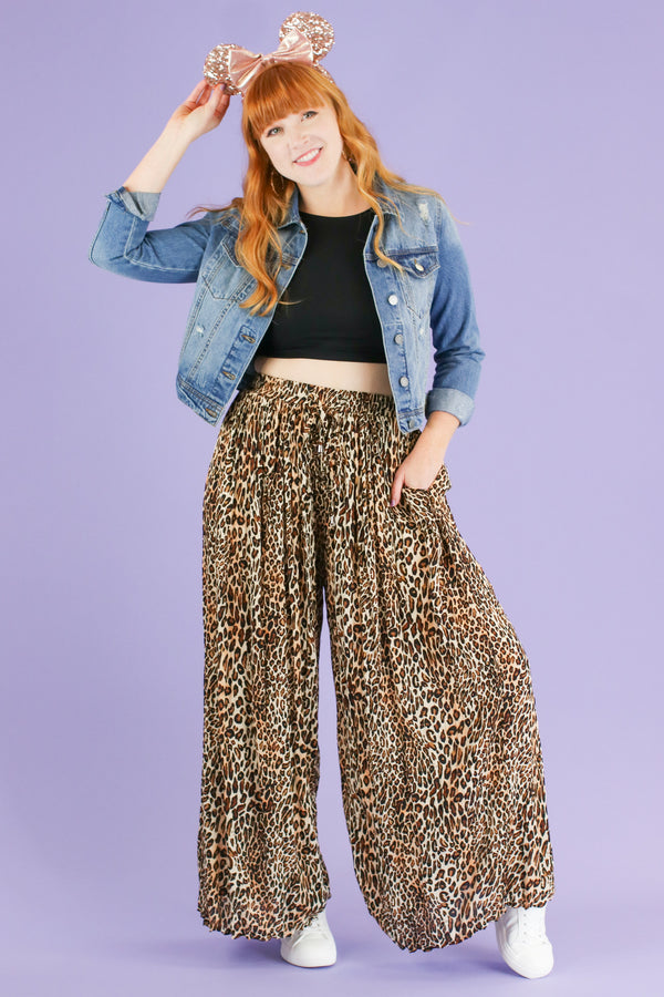 S / Brown Deserted Wide Leg Animal Print Pants - FINAL SALE - Madison and Mallory