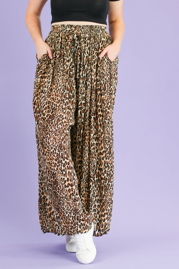 Deserted Wide Leg Animal Print Pants - Madison and Mallory