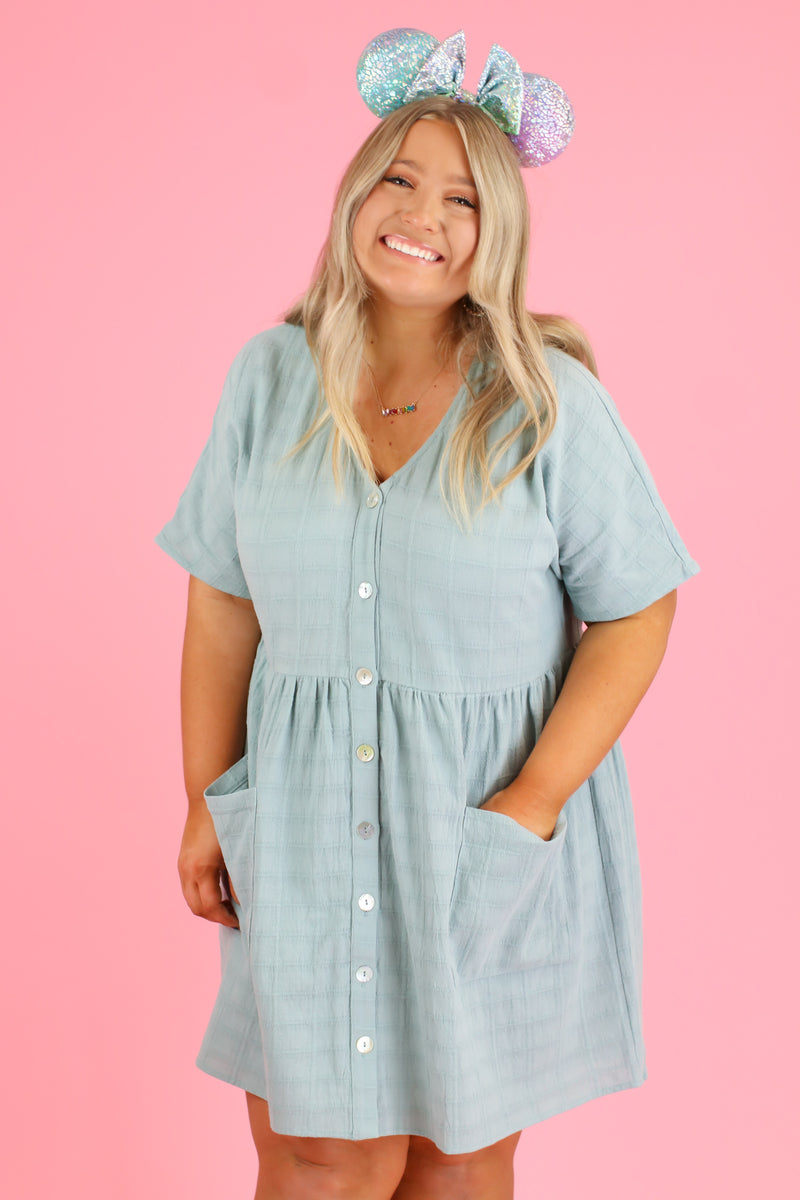 Seafoam / S Sunbathe Button Down Babydoll Dress | CURVE - Madison and Mallory