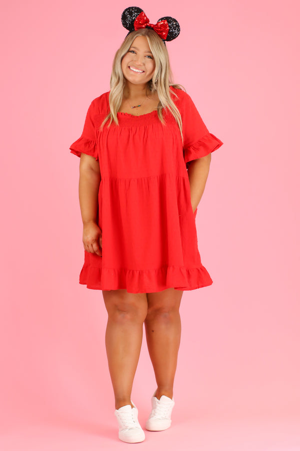 Tomato / S Sweet Dreamer Swiss Dot Ruffle Dress | CURVE - Madison and Mallory
