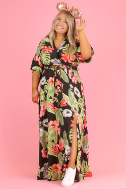 S / Black Tropicana Print Maxi Dress | CURVE - FINAL SALE - Madison and Mallory
