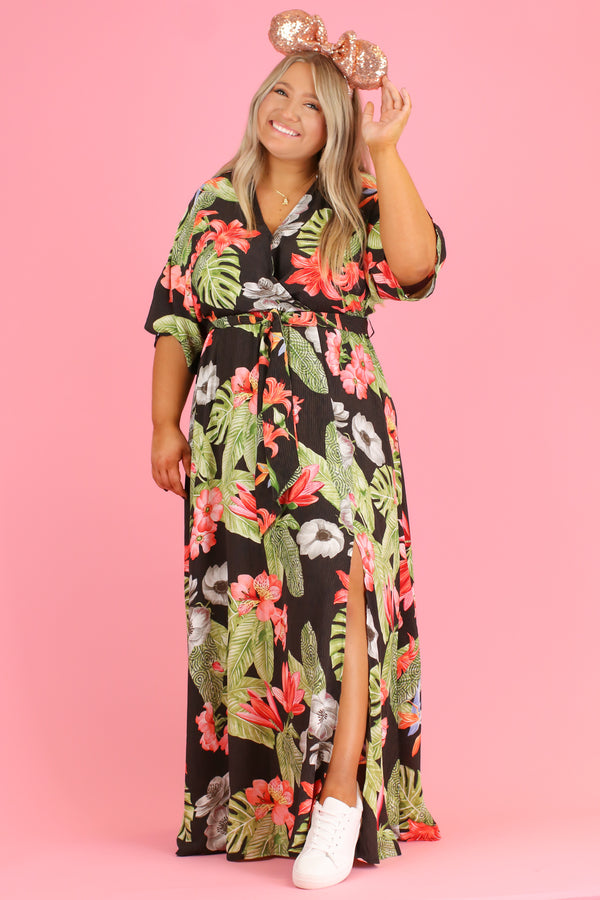S / Black Tropicana Print Maxi Dress | CURVE - Madison and Mallory