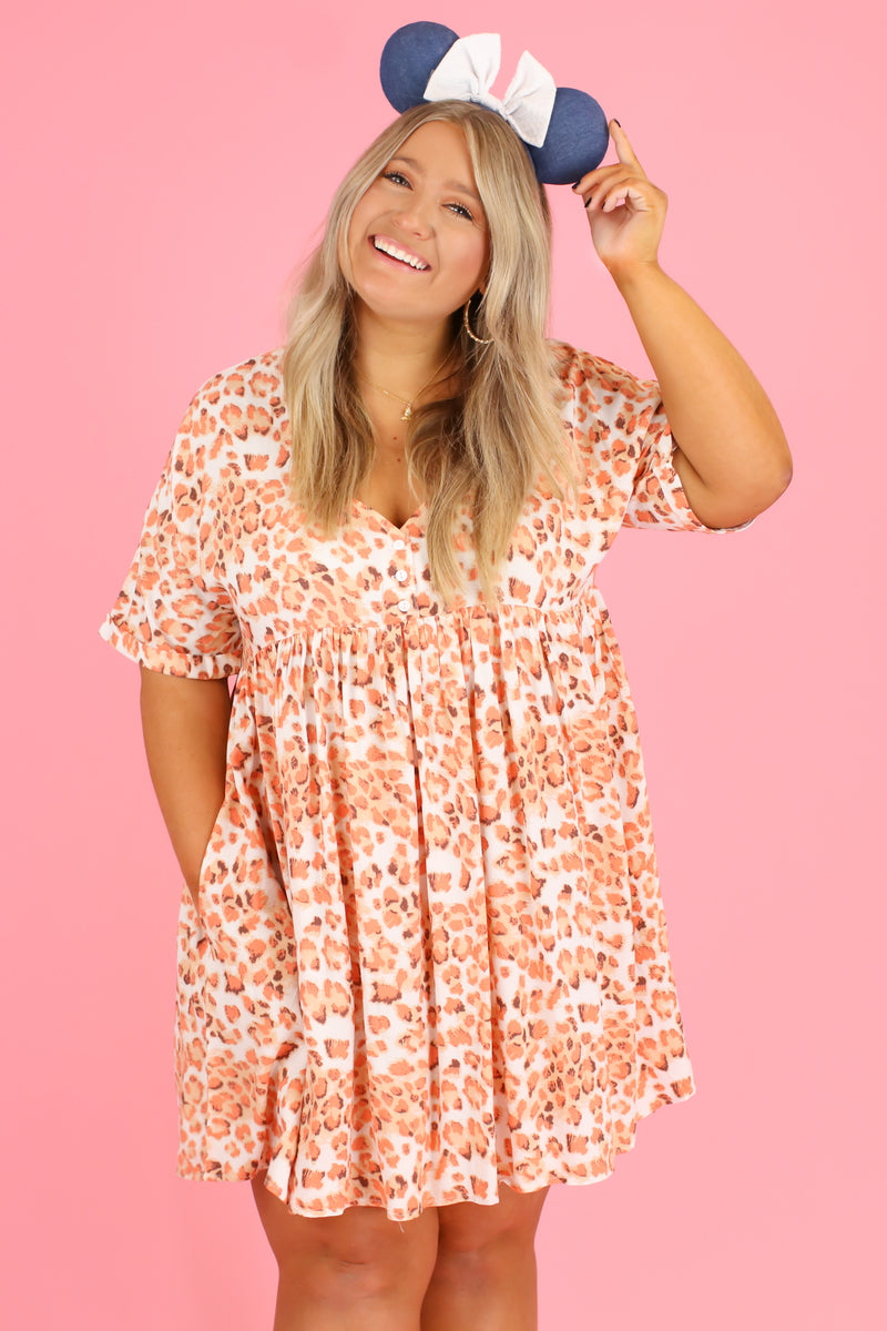 S / Coral Stampede Animal Print Babydoll Dress | CURVE - Madison and Mallory