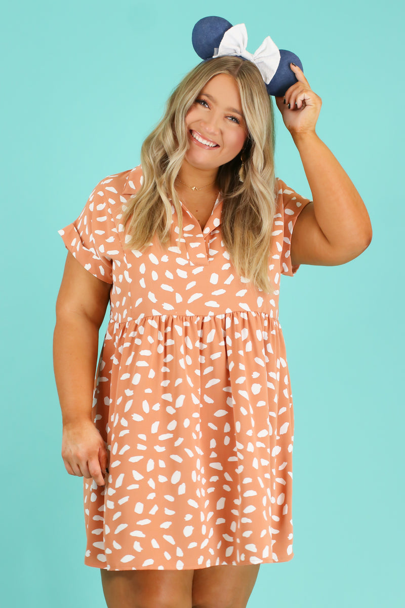 S / Apricot Jungle Trek Printed Babydoll Dress - Madison and Mallory