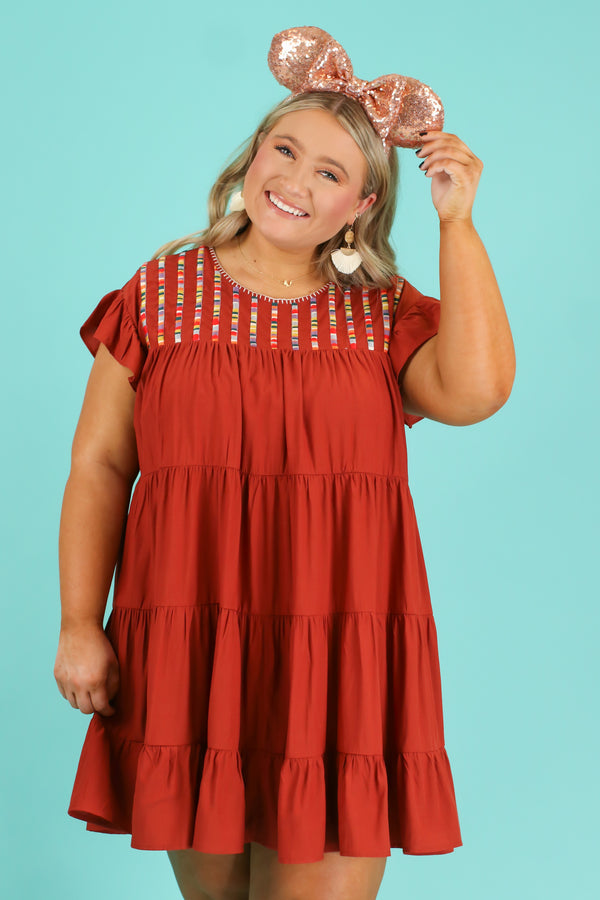 S / Rust Sun Seeker Embroidered Dress | CURVE - FINAL SALE - Madison and Mallory