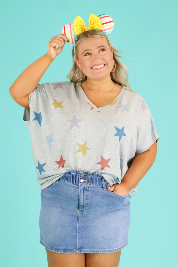 S / Heather Gray Starla Multi Color Star Top | CURVE - Madison and Mallory