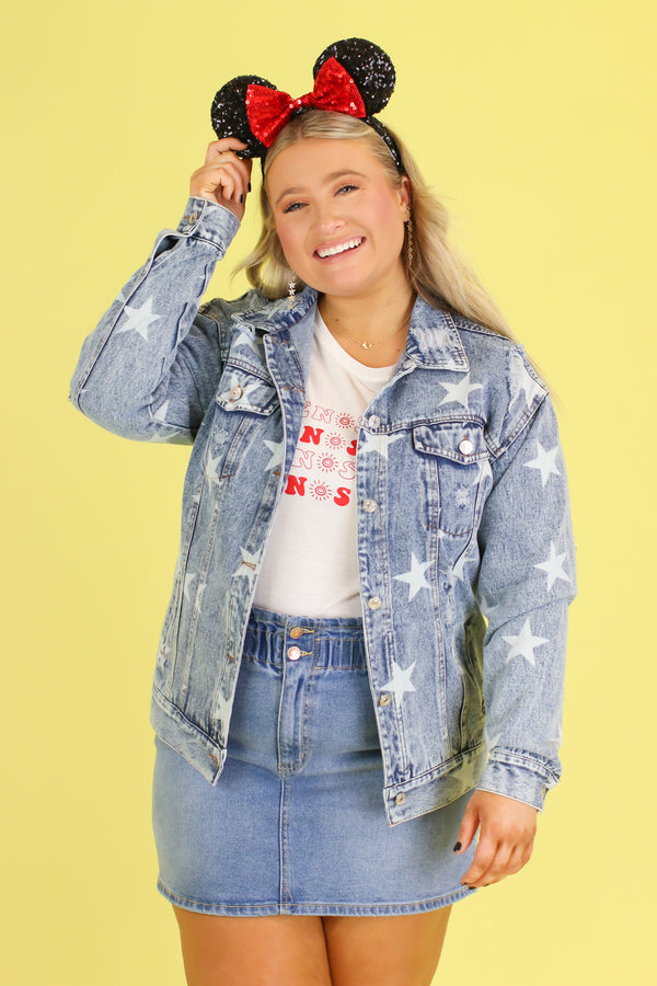 Pisces Star Distressed Denim Jacket - Madison and Mallory
