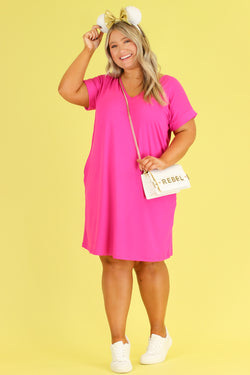 Calm Cool Collected V-Neck T-Shirt Dress | CURVE - Madison and Mallory