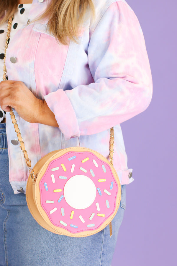 Fuchsia Frosted Donut Crossbody Bag - Madison and Mallory