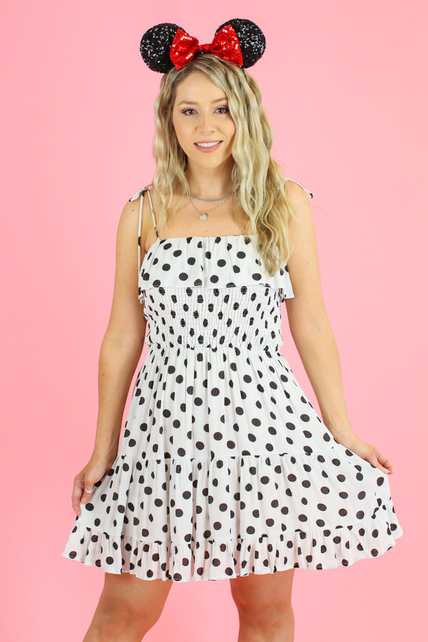 S / Off White Dots on Dots Smocked Ruffle Dress - Madison and Mallory