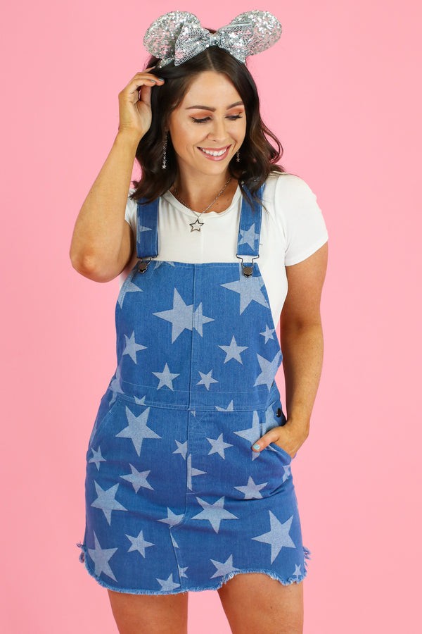 S / Denim What a Star Distressed Overall Jumper - Madison and Mallory
