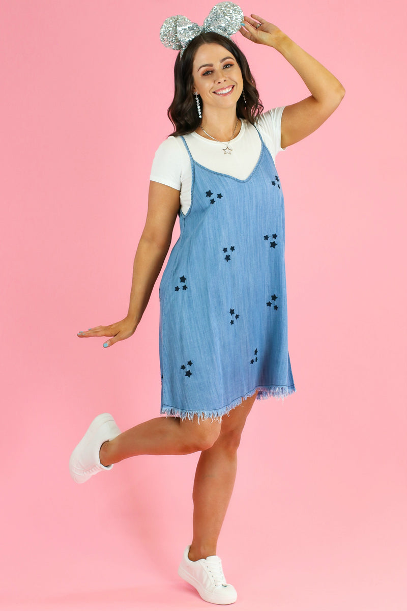 Star Light Embroidered Denim Dress - FINAL SALE - Madison and Mallory