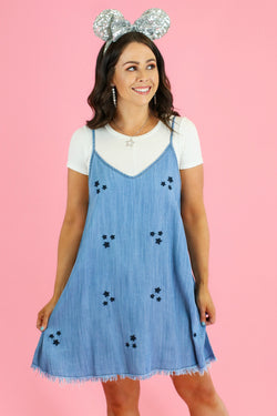 S / Blue Star Light Embroidered Denim Dress - Madison and Mallory