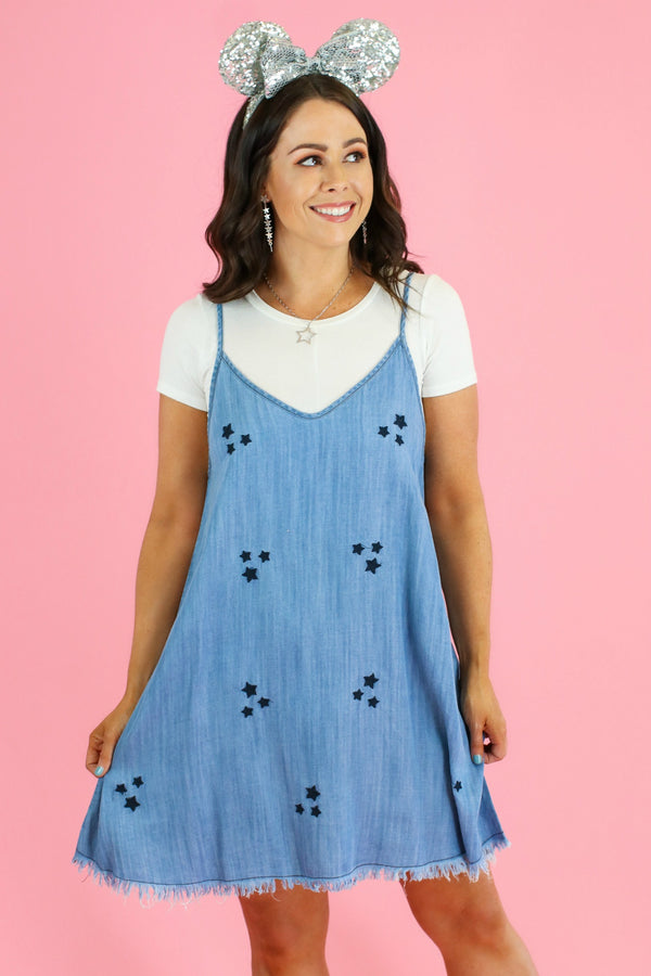 S / Blue Star Light Embroidered Denim Dress - FINAL SALE - Madison and Mallory