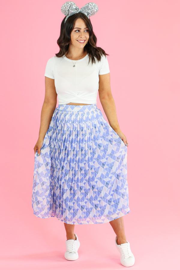 S / Blue Meet Me at the Wall Pleated Skirt - Madison and Mallory