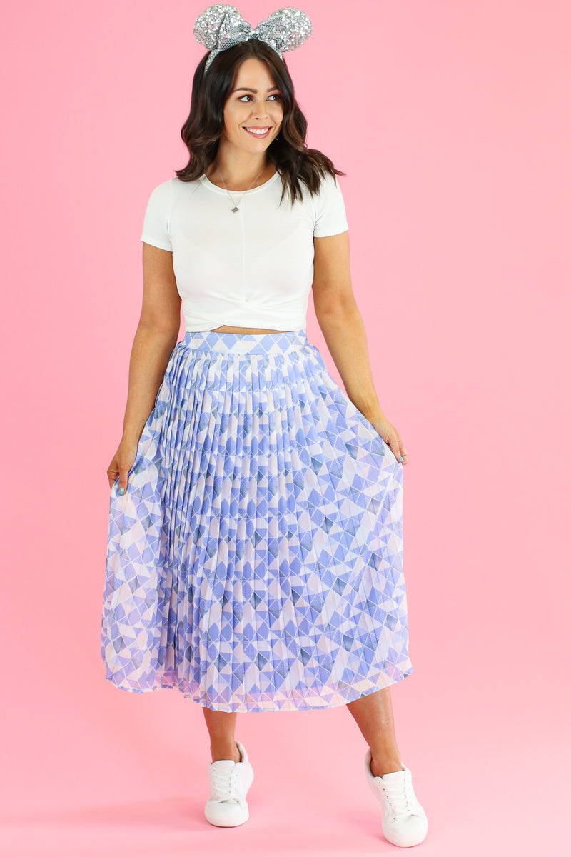 S / Blue Meet Me at the Wall Pleated Skirt - FINAL SALE - Madison and Mallory