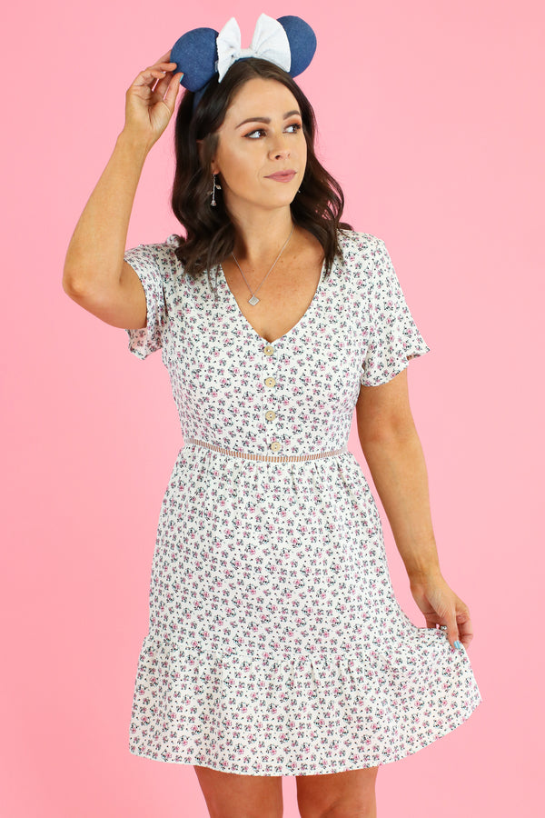 S / Off White Ohana Floral Print Button Dress - Madison and Mallory