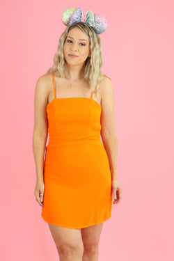 S / Cutie Orange Aslan Tie Back Tank Slip Dress - Madison and Mallory