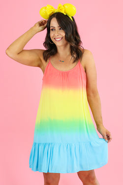 S / Multi Perfect Timing Rainbow Tiered Dress - FINAL SALE - Madison and Mallory