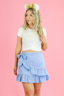 S / Light Guiding Star Print Ruffle Wrap Skirt - Madison and Mallory