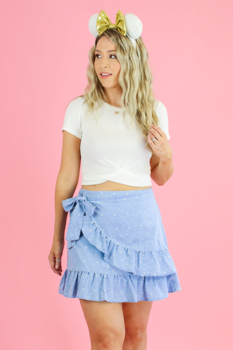 S / Light Guiding Star Print Ruffle Wrap Skirt - FINAL SALE - Madison and Mallory