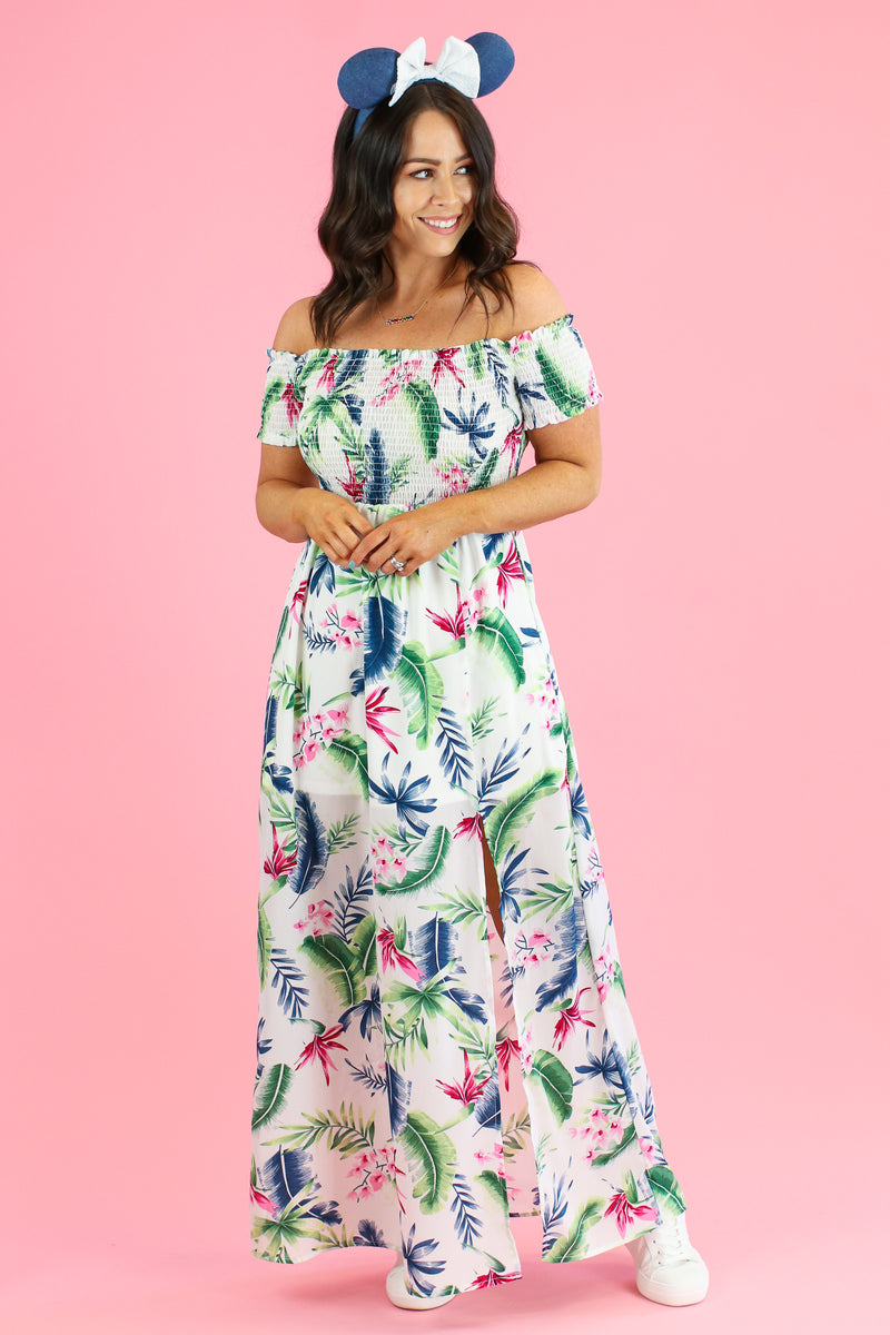 S / Off White Away On Vacay Tropical Print Dress - FINAL SALE - Madison and Mallory