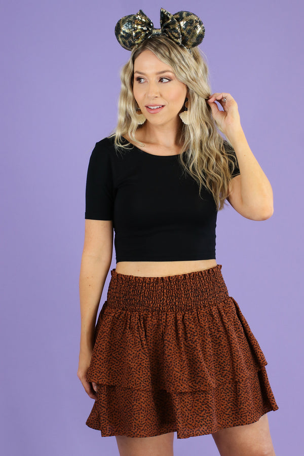 Brown / S Corin Tiered Leopard Skirt - Madison and Mallory