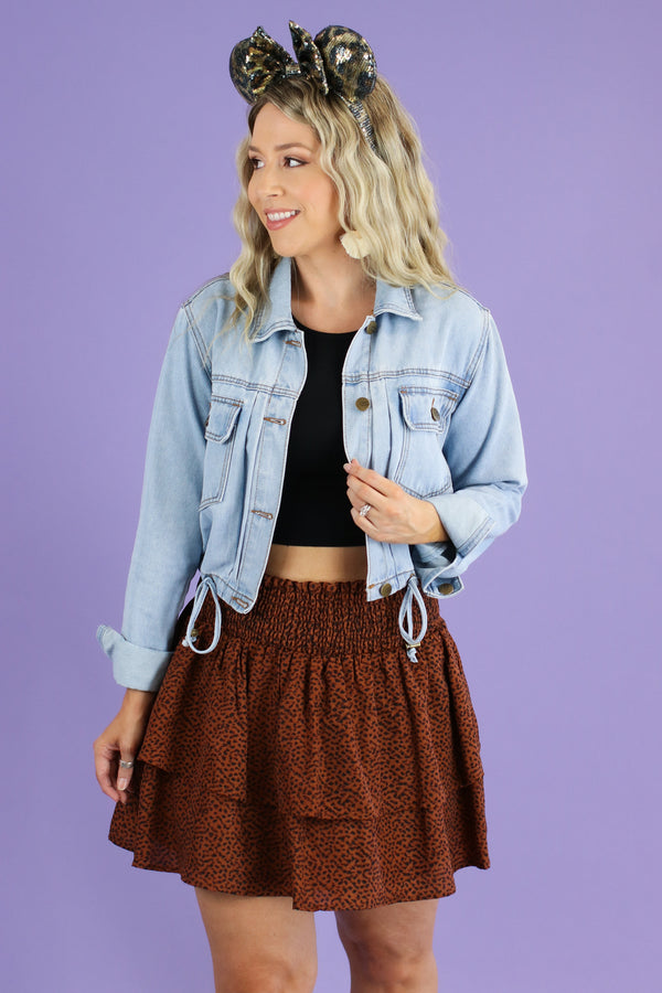 Lalah Drawstring Denim Jacket - Madison and Mallory