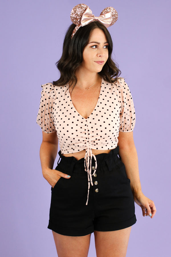 S / Pink Influential Polka Dot Ruched Top - Madison and Mallory