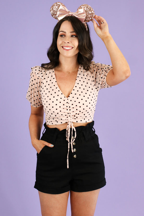Influential Polka Dot Ruched Top - Madison and Mallory