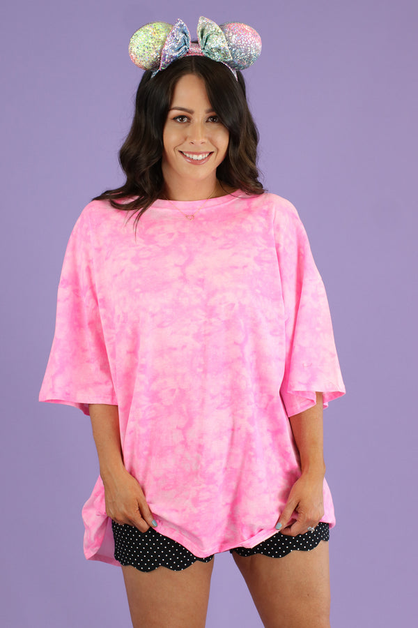 SM / Neon Pink Iridessa Neon Tie Dye Oversized Top - Madison and Mallory