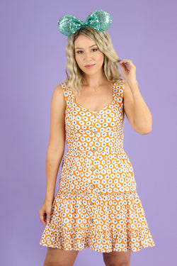 S / Orange Floral Fever Sweetheart Button Dress - Madison and Mallory