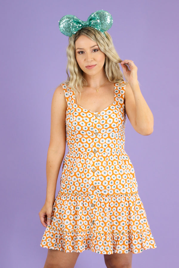 S / Orange Floral Fever Sweetheart Button Dress - FINAL SALE - Madison and Mallory