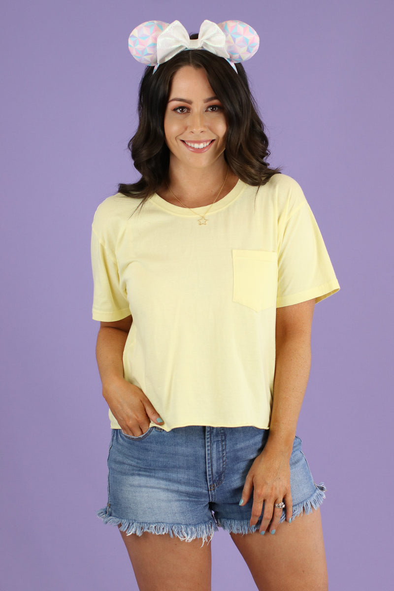 Butter / S Every Step Cropped Pocket Tee - FINAL SALE - Madison and Mallory