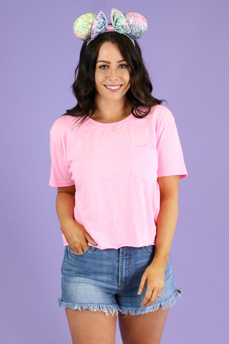 Neon Pink / S Every Step Cropped Pocket Tee - FINAL SALE - Madison and Mallory