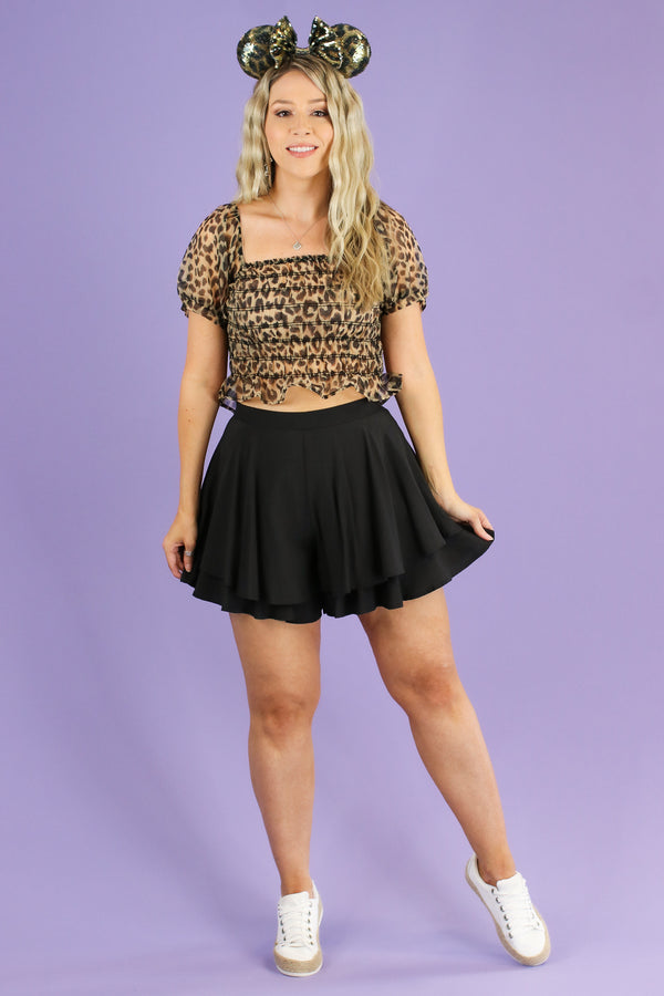 Kylen Animal Print Organza Ruched Top - Madison and Mallory